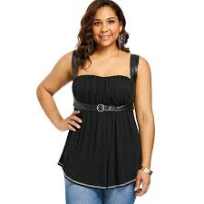 women plus size square neck empire waist curved tank top y pu leather buckled straps sleeveless