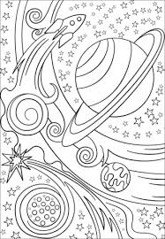 Trippy Space Rocket And Planets Coloring Page Free Printable