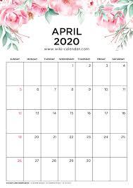 Free Printable April Calendar 2020 Free Printable 2020 Floral Calendar