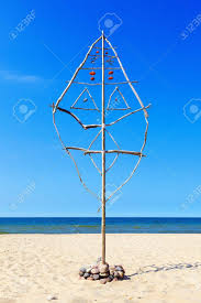 Beach Dream Catchers Large Dream Catcher Made Of Sticks And Stones On The Beach By 58