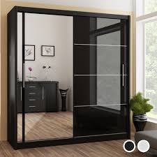 vista high gloss mirrored sliding door wardrobe black and white home done