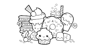 Kawaii Food Doodle Coloring Page Printables Food Coloring Pages