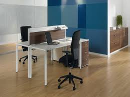 2 person wooden desk ikea with file drawers and modern black swift chairs combined office at b66 office