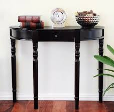 hallway table decor. Glossy Black Wooden Half Moon Console Table With Small Drawer Placed At White Entryway Wall On Hardwood Flooring Hallway Decor L