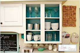 Open Shelf Kitchen Open Cabinets With White Aqua Lime Green Silver Accents Mom