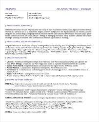 artist resume sle 3 3d artist resume