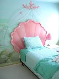 mermaid bedroom ideas and pastel blue sea mural also pink shell headboard green bedding sheet corner little mermaid