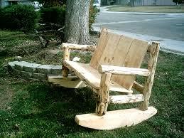 superb garden decoratin ideas with elegant rustic outdoor furniture of wooden rocking chair