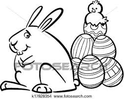 black and white cartoon ilration of funny easter bunny with paschal eggs and little for coloring book