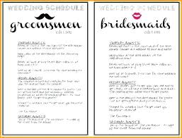 Wedding Schedule Of Events Template Weekend Itinerary Free