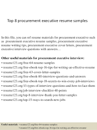 Top 8 procurement executive resume samples In this file, you can ref resume  materials for ...