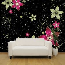 Gold And Pink Flowers Wallpaper Mural Bedroom Design Wm185
