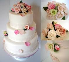 3 Tier Wedding Cake With Sugar Flowers Cakecentralcom