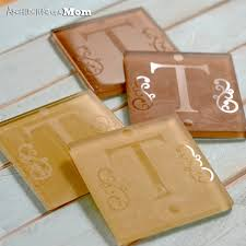 etched monogram glass tile coasters by architecture of a mom one of a huge collection