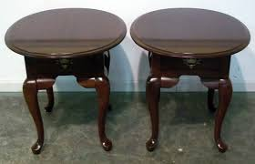 cherry end tables. 3805 20 Pair Of Broyhill Solid Cherry Oval Queen Anne End Tables