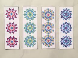 Design Bookmarks 4 Digital Bookmarks With Geometric Star Design Colourful Geometric Art Bookmarks Ramadan Bookmarks Islamic Geometric Art