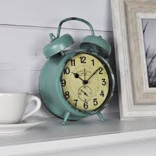 teal double bell table top clock