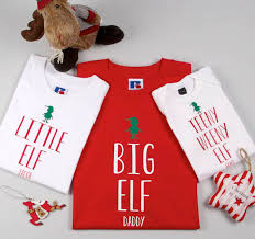 personalised father child and baby elf t shirts