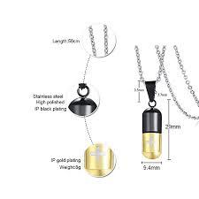 pill perfume bottle pendant laser cross titanium steel pendant jewelry pn 176 black gold