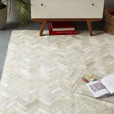 pieced patched cowhide rug chevron