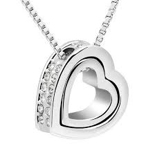 double heart pendant necklace made with swarovski elementsclear crystal swarovski elements