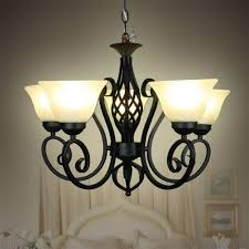 Frosted Glass Light Fixture Us 110 0 Wrought Iron Pendant Lights Black Light Body Frosted Glass Lampshade Milky Vintage E27 Metal Hanging Lamp Fixture Lustres Led In Pendant