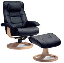 fjords mustang recliner chair and ottoman in havana leather