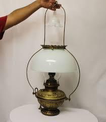 kerosene lamp with milk glass shade sold