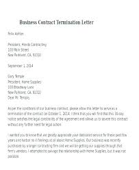 Letter To Terminate Contract With Supplier Termination Agreement Template Sample Contract 8 Examples In