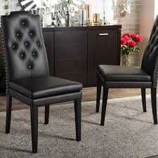 dylin brown faux leather upholstered dining chairs set of 2