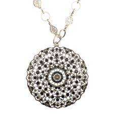 black crystal medallion silver crystal necklace tap to expand