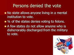 the candidate conclusion the candidate conclusion midterm essay  persons denied the vote no state allows anyone living in a mental institution to vote