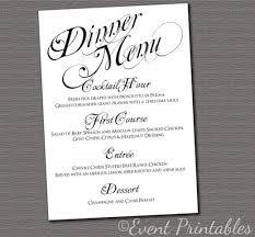 Printable Menu Cards Wedding Menu Template Diy Menu Card Template