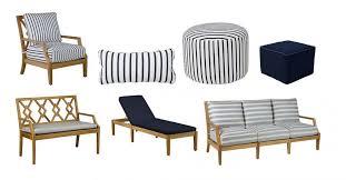 outdoor furniture white. Aviva Teak Lounge Chair, Indigo/White, $1,099; Outdoor Lumbar Pillow, $69; Round Pouf, $269; Square Furniture White