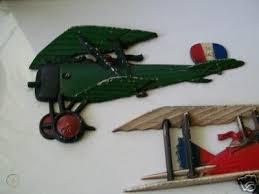 vintage airplane biplane metal wall