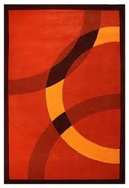 Houzz Circles HandTufted Wool Rug Orange And Red