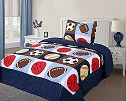 Amazon.com: Twin Size 2 Pcs Quilt Bedspread Set Kids Sports ... & Twin Size 2 Pcs Quilt Bedspread Set Kids Sports Basketball Football  Baseball Boys Girls Adamdwight.com