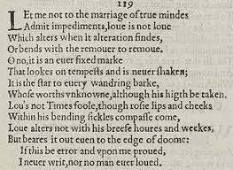 sonnet  sonnet 116 detail of old spelling text