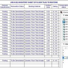 Inventory Chart Of The Pieces In The Interior Flooring