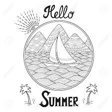 黒と白のパターンを落書きこんにちは夏のレタリングの風景 山川丘海船ヨット海岸帆