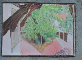 window pencil drawing. final drawing in dry watercolour pencil window
