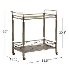 Metropolitan Antique Brass Metal Mobile Bar Cart with Glass Top by iNSPIRE Q  Bold - Free Shipping Today - Overstock.com - 19794010