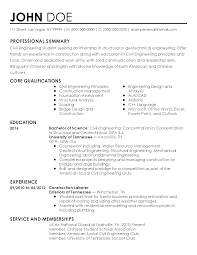 How To Prepare A Cv For Internship Professional Civil Engineer Intern Templates To Showcase