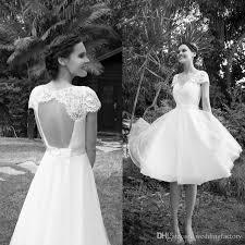 discount spring country knee length wedding dresses short beach v