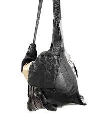 deconstructed zero waste shoulder bag black leather handbag
