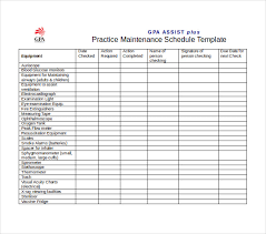 Schedule Word Preventive Maintenance Schedule Template Excel Task List