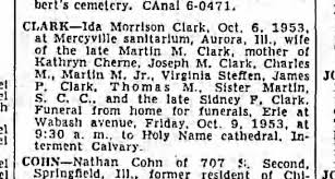 Ida Morrison Clark obit. 1953. wife of Martin M Clark, - Newspapers.com