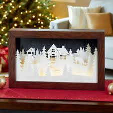 Winter Pictures With Led Lights Winter Scene In A Wooden Frame With 20 Led Lights Costco Uk