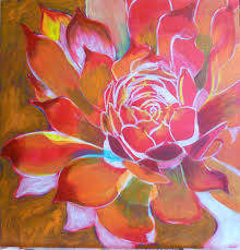free acrylic painting lessons painting flowers on canvas then yellow and oranges i took