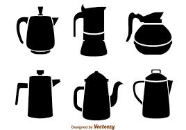 coffee pot silhouette. Wonderful Coffee Coffee Pot Black Icons On Silhouette O